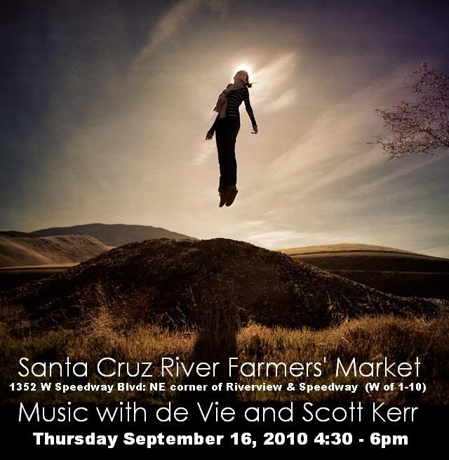 Woman levitating above a hill. Music poster for de Vie & Scott Kerr show at Santa Cruz River Farmer's Market, Sept. 16th, Tucson