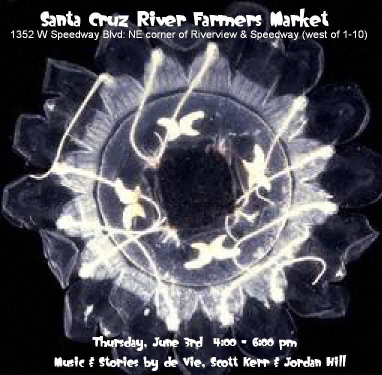 de Vie, Scott Kerr, Jordan Hill: Live Music & Stories at Riverview & Speedway Market, Tucson. Flyer: black & white iris or flower.