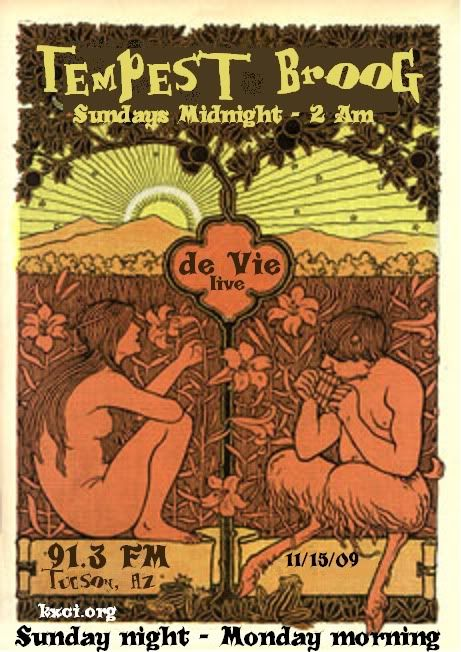 de Vie: live music on Tempest Broog, 91.3 FM KXCI Tucson, kxci.org. Flyer: art of naked woman and Pan in a field.
