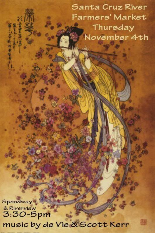 Live music by de Vie & Scott Kerr, Speedway & Riverview, November 4th, Tucson. Flyer: Asian woman playing a long flute, with flowers.