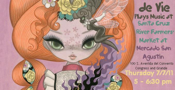 de Vie plays music at Santa Cruz River Farmers Market, Thursday, Tucson. Flyer: art of wide-eyed girl with big orange hair & purple fire.