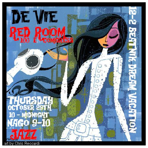 de Vie, Beatnik Dream Vacation, & Nago performing live at Red Room, 100 E Congress, Tucson. Music flyer: thin woman in white dress with long black hair (art by Chris Reccardi).