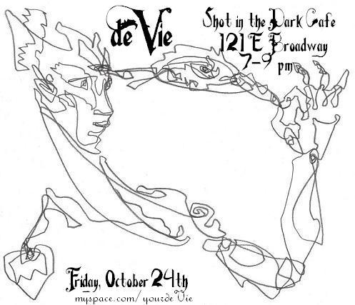 Live music flyer: abstract line face with outreaching hand. de Vie, Friday October 24th, Shot in the Dark Cafe, 121 E Broadway, Tucson.