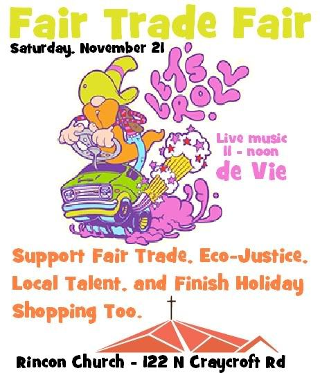 de Vie, Scott Kerr, Fair Trade Fair, November 21st, Tucson live music. Flyer: orange-bearded man with yellow hat on magic green van.