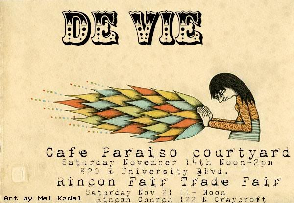 de Vie live at Cafe Paraiso courtyard, Rincon Fair Trade Fair, Tucson. Music flyer: black-haired woman pushing fire from her hands. Art by Mel Kadel.