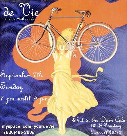 de Vie original vital songs, Shot in the Dark Cafe, Tucson music. Live music show flyer: woman in yellow dress holding up bicycle.