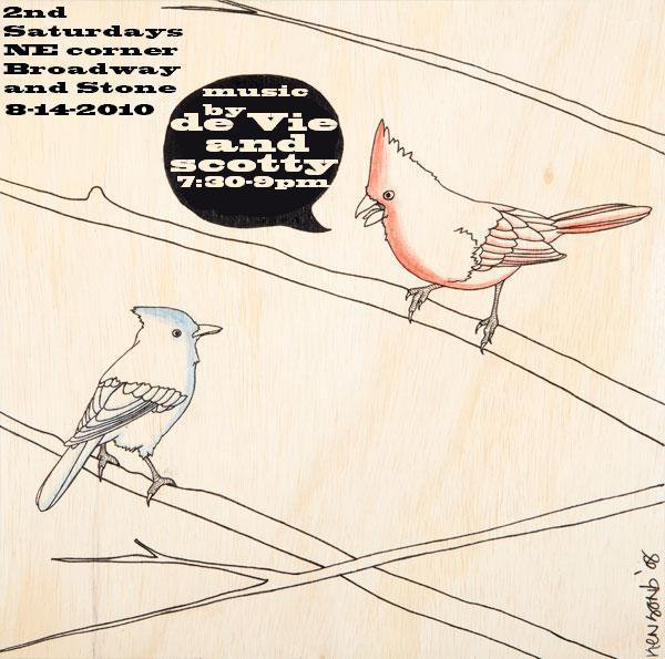 Live Music by de Vie and Scotty, 2nd Saturdays at Broadway & Stone, Tucson Arizona. Flyer: two birds on branches.