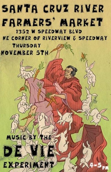 Music by the de Vie Experiment, live at Santa Cruz River Farmers Market, Tucson. Flyer: samurai with rabbits and carrots (art by Kozyndan).